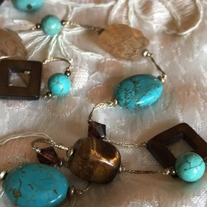 PD Branded Necklace and Earring Set: Tiger Eye, Turquoise & Quartz Elements